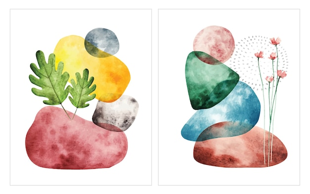 Abstracte vorm aquarel illustratie Premium Vector