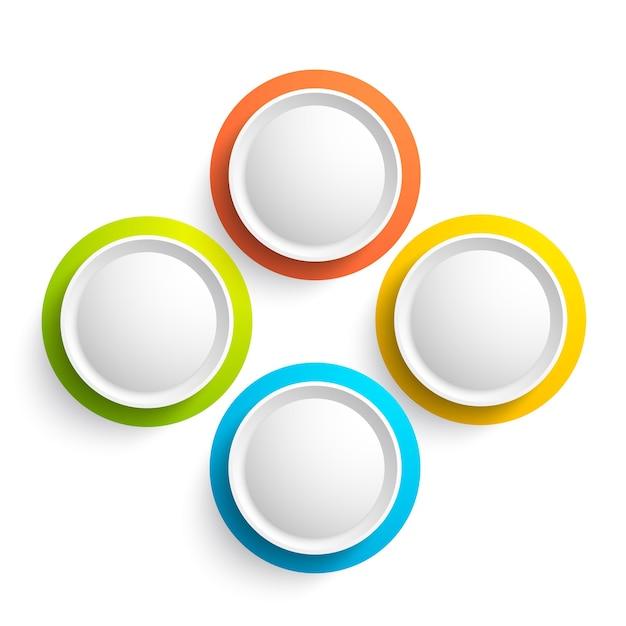 Abstracte webelementen collectie met vier kleurrijke ronde knoppen op wit geïsoleerd Gratis Vector
