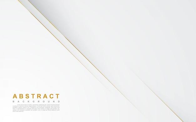 Abstracte witte achtergrond met gouden lijn Premium Vector
