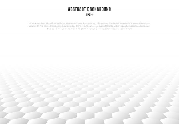 Abstracte witte het perspectiefachtergrond van het zeshoekenpatroon Premium Vector