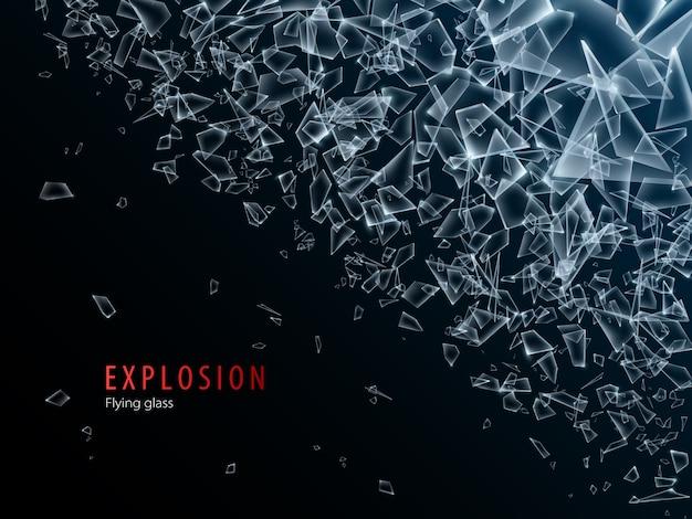 Abstracte wolk van glasstukken en fragmenten na explosie. verbrijzel en vernietigingseffect. illustratie. Premium Vector