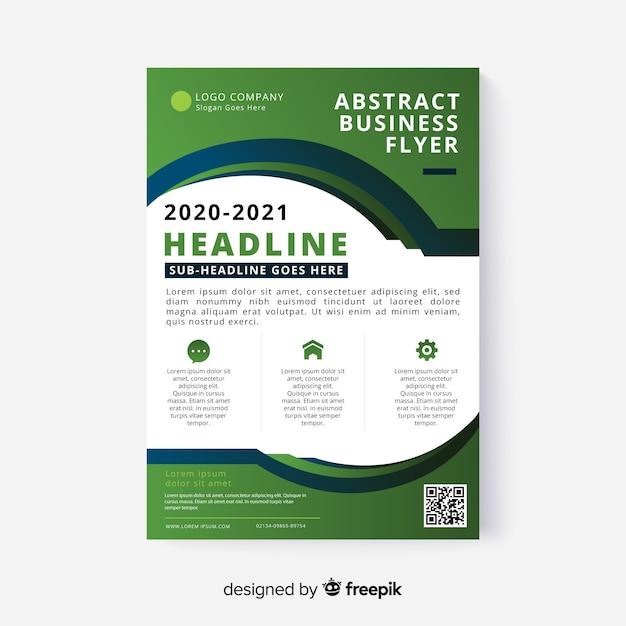 Abstracte zakelijke flyer met platte ontwerp Gratis Vector