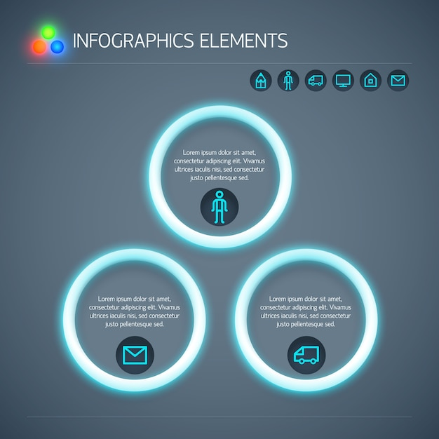 Abstracte zakelijke infographic sjabloon met neon cirkels tekst en pictogrammen geïsoleerd Gratis Vector