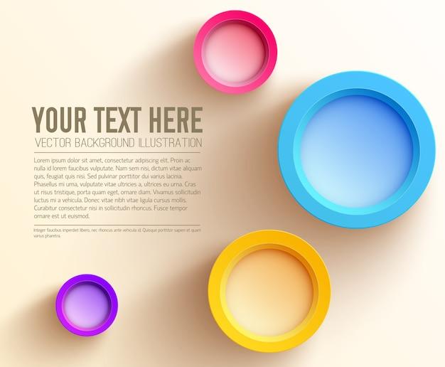 Abstracte zakelijke websjabloon met tekst en kleurrijke lege cirkels Gratis Vector