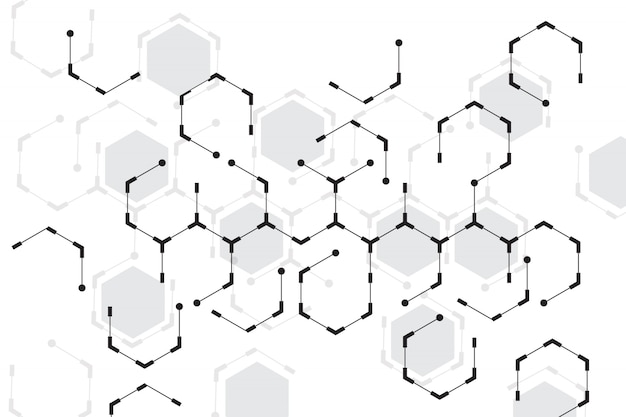Abstracte zeshoek met witte achtergrond Gratis Vector