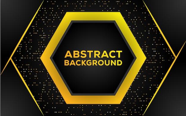 Abstracte zeshoek zwarte en gouden achtergrond Premium Vector
