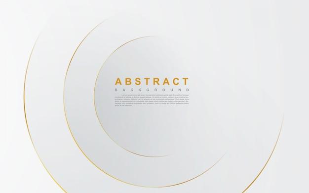 Abstracte zilveren achtergrond met cirkel gouden lijn Premium Vector