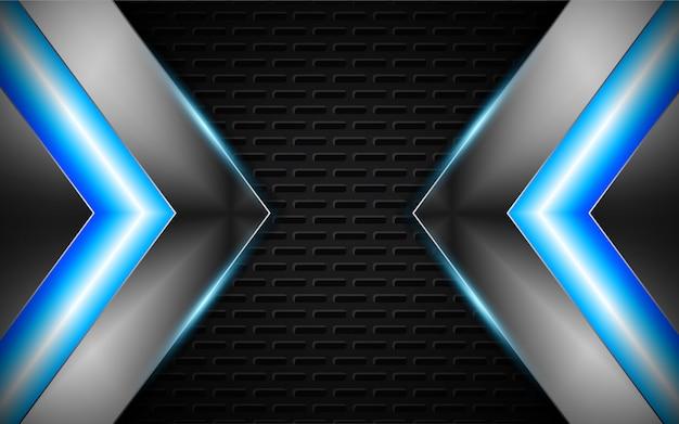 Abstracte zilveren vormen met lichte neon blauwe achtergrond Premium Vector