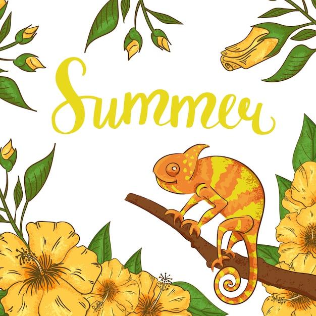 Abstracte zomer met kameleon, hibiscus en planten. Premium Vector