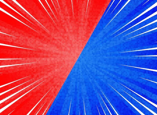 Abstracte zon barstte contrast rode blauwe kleuren achtergrond Premium Vector