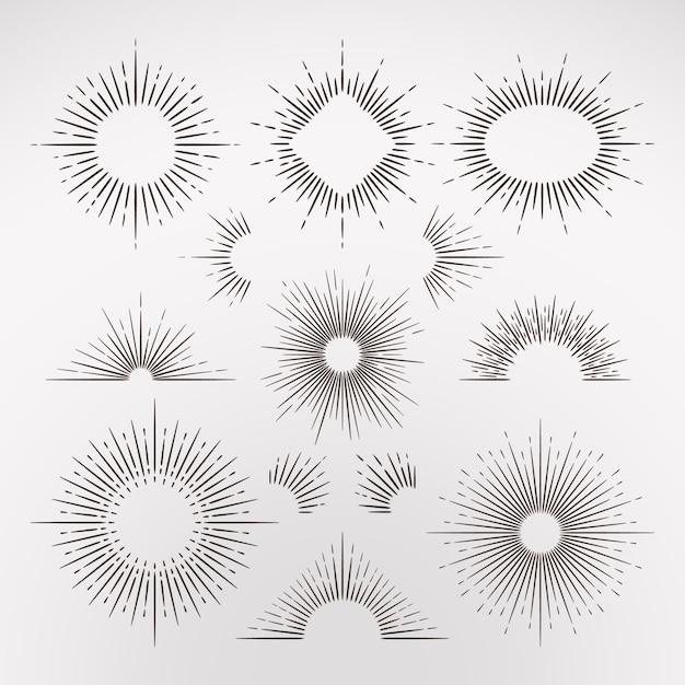 Abstracte zon burst stralen met rand Premium Vector