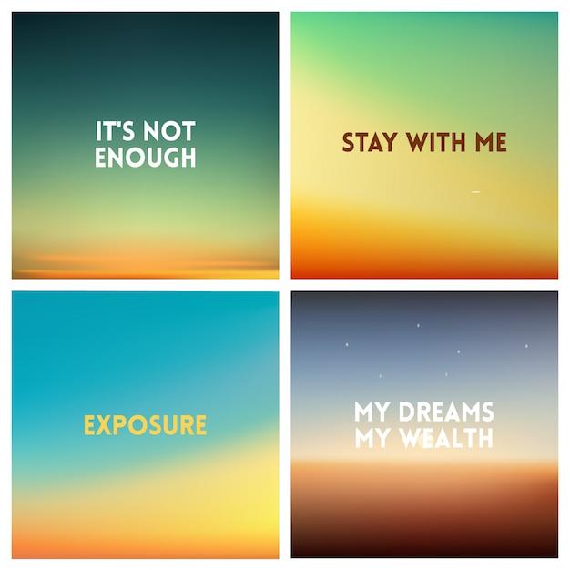Abstracte zonsondergang onscherpe achtergrond instellen. vierkant onscherpe achtergrond - hemel wolken kleuren met liefde citaten. Premium Vector