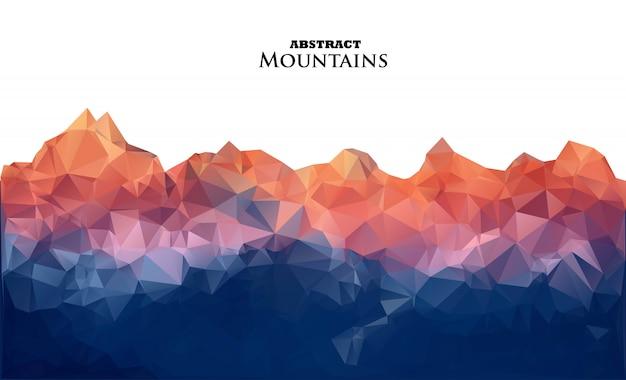 Abstracte zonsopgangbergen in veelhoekige stijl. Premium Vector