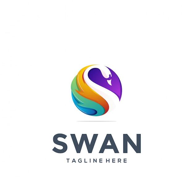 Abstracte zwaan logo sjabloon Premium Vector