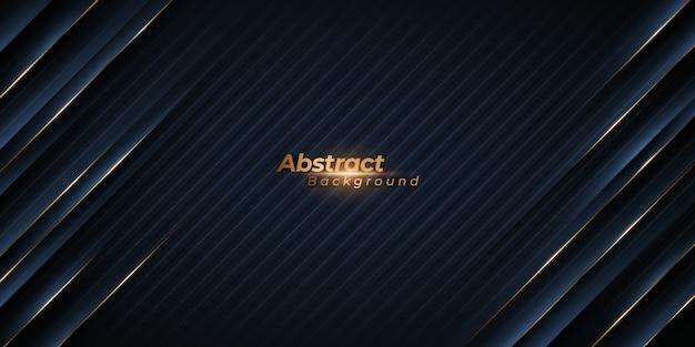 Abstracte zwarte achtergrond met diagonale gouden lijnen. Premium Vector