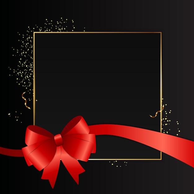 Abstracte zwarte achtergrond met gouden frame en rood lint. illustratie Premium Vector