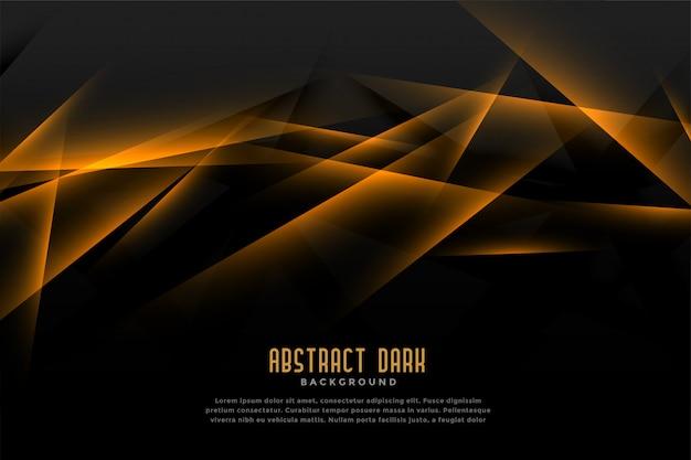 Abstracte zwarte en gouden achtergrond met licht lijneffect Gratis Vector