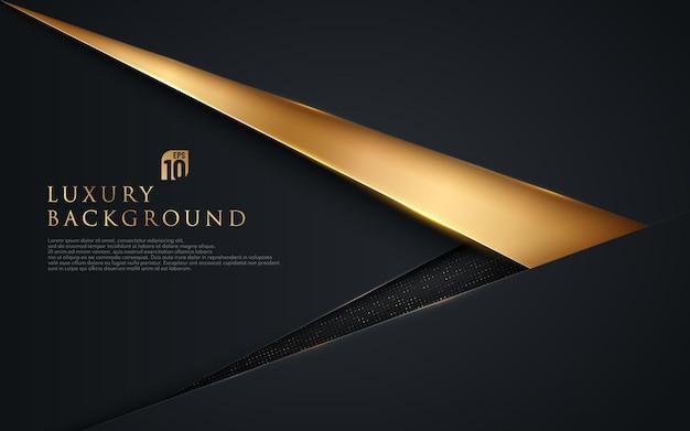 Abstracte zwarte en gouden driehoeksoverlapping op donkere achtergrond Premium Vector
