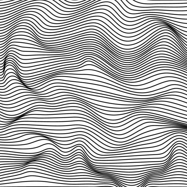 Abstracte zwarte en witte golvende strepen achtergrond Gratis Vector