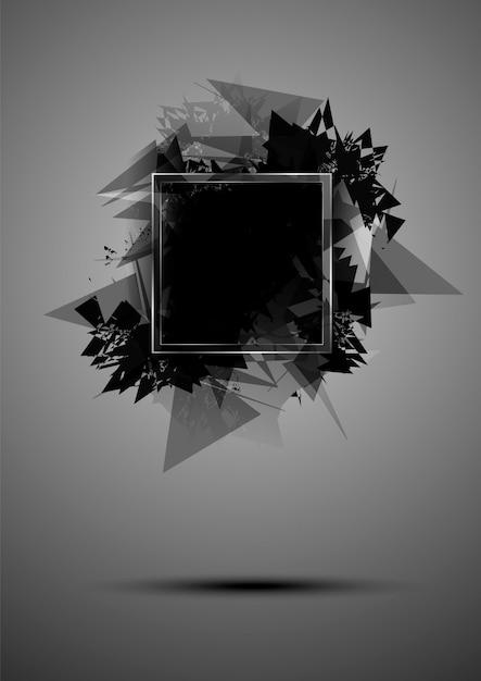 Abstracte zwarte explosie van driehoeken met een frame Premium Vector