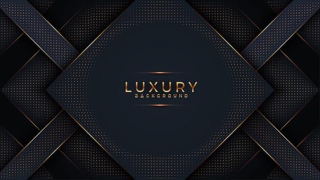 Abstracte zwarte papercut geweven achtergrond met glanzend gouden halftone patroon. Premium Vector
