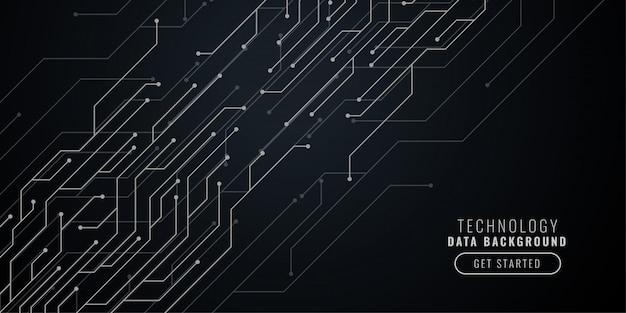 Abstracte zwarte technologie achtergrond met circuit lijnen Gratis Vector