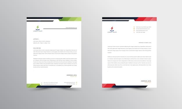 Abtract briefhoofd ontwerpsjabloon voor moderne zakelijke briefpapier Premium Vector