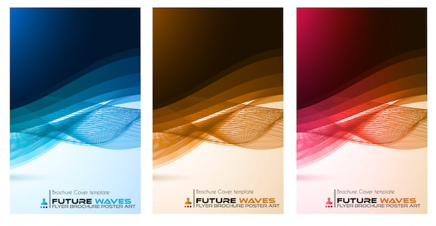Abtract golven poster, brochure of flyer set Premium Vector