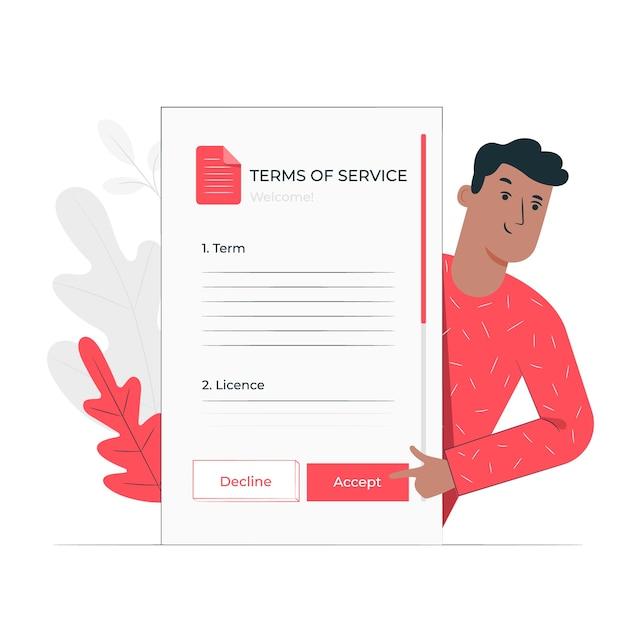 Accepteer voorwaarden wet illustratie concept Gratis Vector