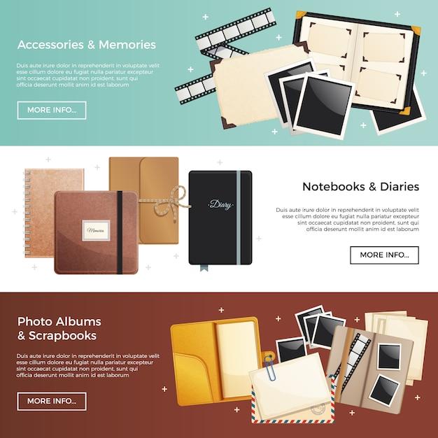 Accessoires en herinneringen horizontale banners met fotoalbums plakboeken notebooks dagboeken decoratieve elementen Gratis Vector