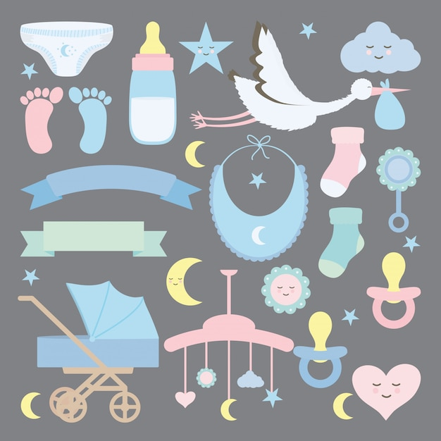 Accessoires voor babydouchesets Gratis Vector