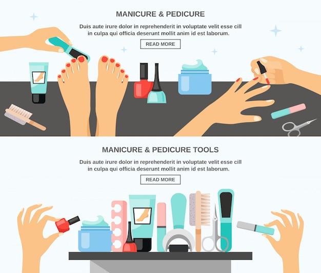 Accessoires voor manicure pedicure platte banners Gratis Vector