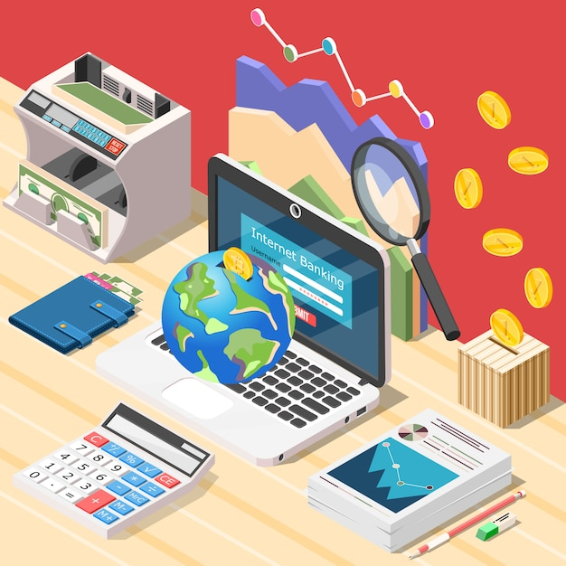 Accountant werkplek isometrisch Gratis Vector