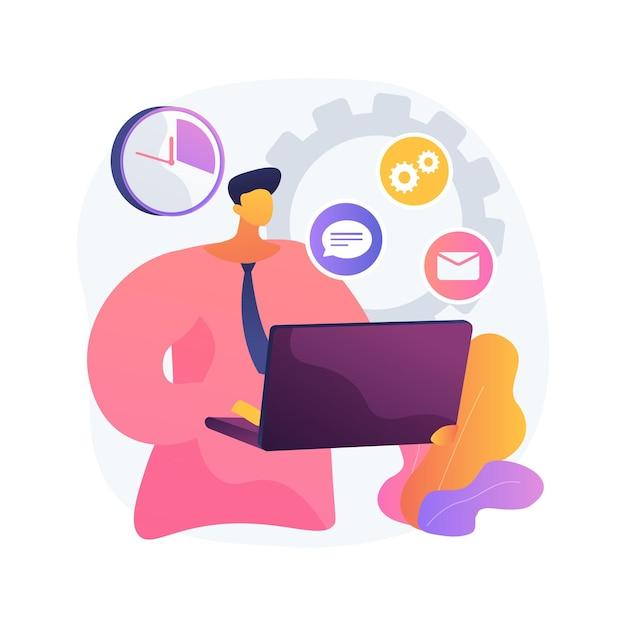 Accountbeheerder abstract concept illustratie. beheer van softwareaccounts, online beheerdersopdracht, verwerking van query's, platformbeheer, streammanager Gratis Vector