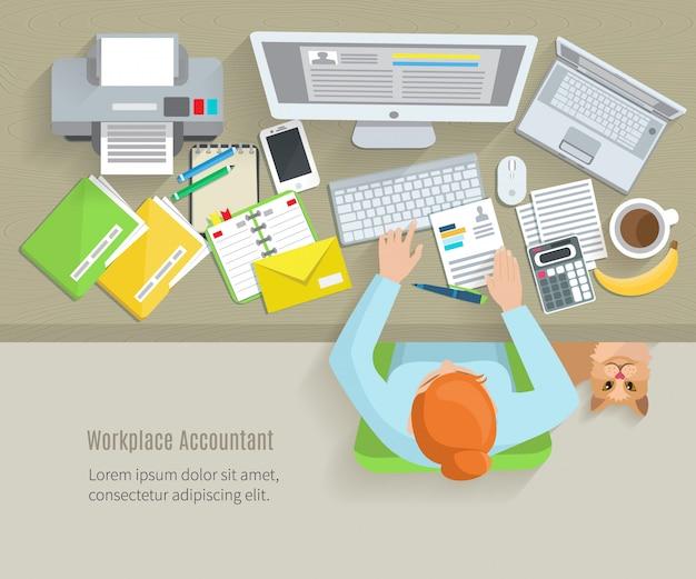 Accounter bovenaanzicht werkplek met vrouw zitten en werken objecten Gratis Vector