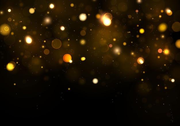 Achtergrond abstract zwart, goud, wit. glitter gouden sprankelende magische stofdeeltjes. magisch concept. abstracte achtergrond met bokeh-effect. Premium Vector