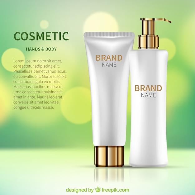 Achtergrond defocused met realistische cosmetische producten Gratis Vector
