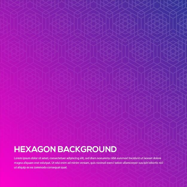 Achtergrond door de gradiëntkleur te gebruiken tussen donkerblauw en roze met een zeshoekig patroon Premium Vector