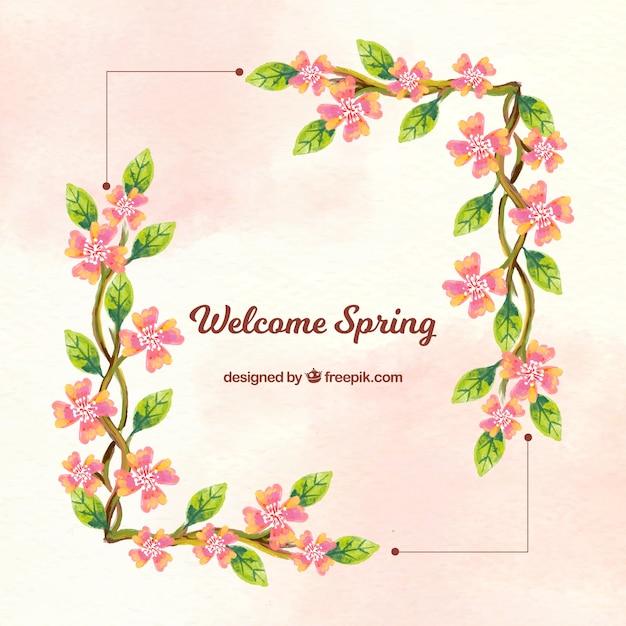 Achtergrond frame met bloemen aquarel informatie Gratis Vector