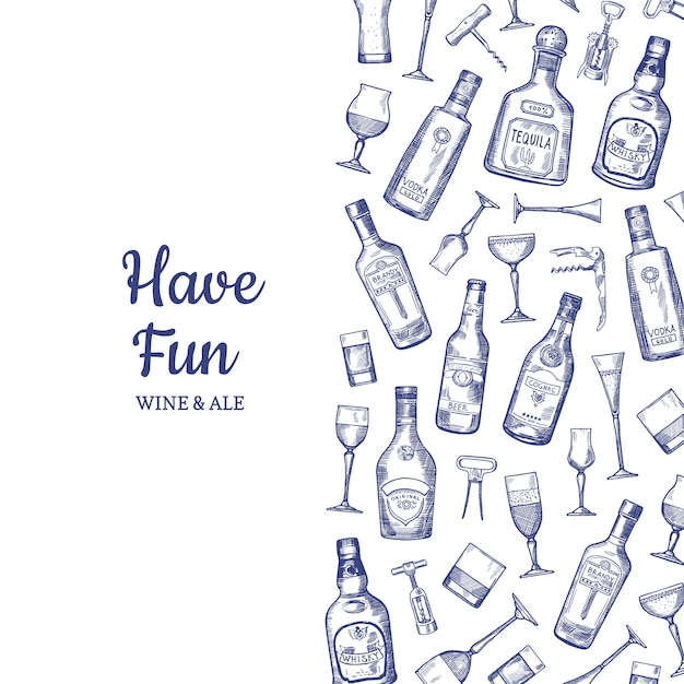 Achtergrond hand getrokken alcohol drinken flessen en glazen illustratie Premium Vector