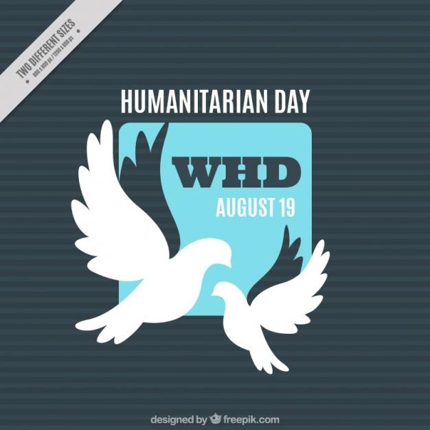 Achtergrond humanitaire dag met duiven Gratis Vector
