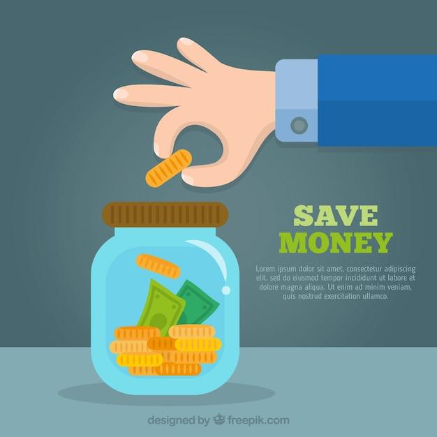 Achtergrond in platte ontwerp pot met besparingen Gratis Vector
