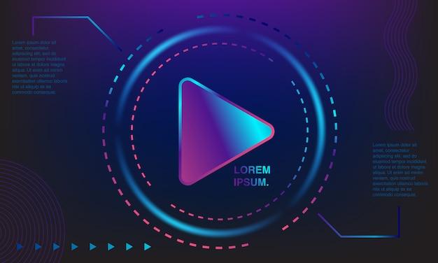 Achtergrond kleurrijke afspeelknop. kleurrijke banners. gradaties van paars, blauw en roze. Premium Vector