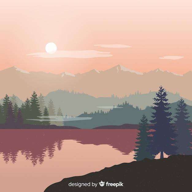 Achtergrond landschapsbergen Gratis Vector