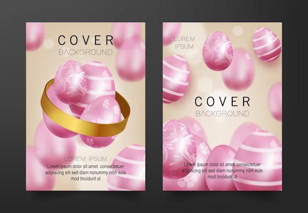 Achtergrond met 3d-roze eieren patroon te dekken Premium Vector