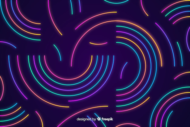 Achtergrond met abstracte neonvormen Gratis Vector