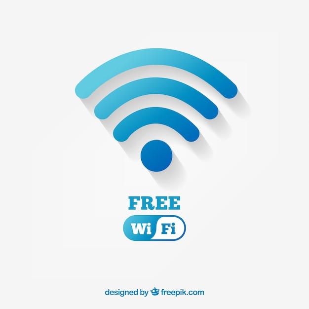 Achtergrond met blauw wifi symbool in plat ontwerp Gratis Vector