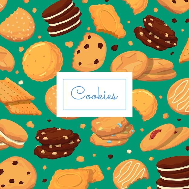 Achtergrond met cartoon cookies Premium Vector