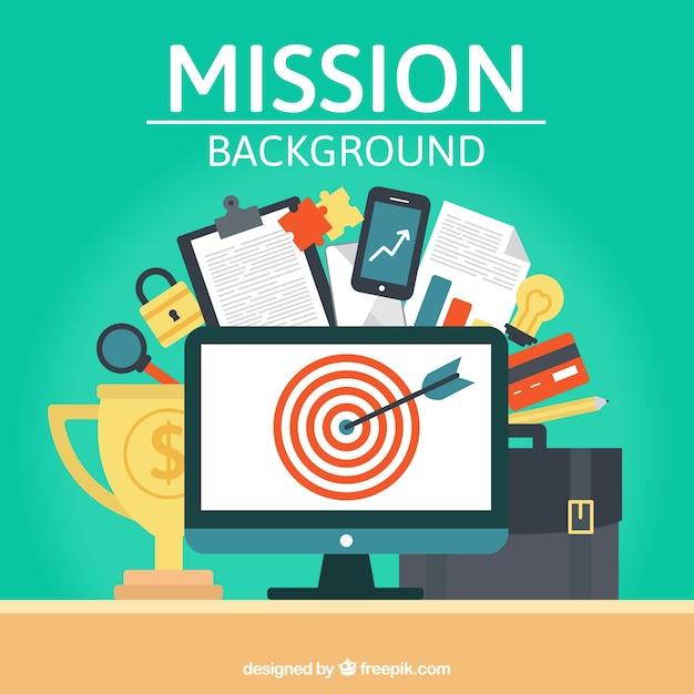 Achtergrond met doelgroep en zakelijke elementen Gratis Vector