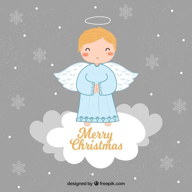 Achtergrond met een leuke kerstmisengel op een wolk Gratis Vector
